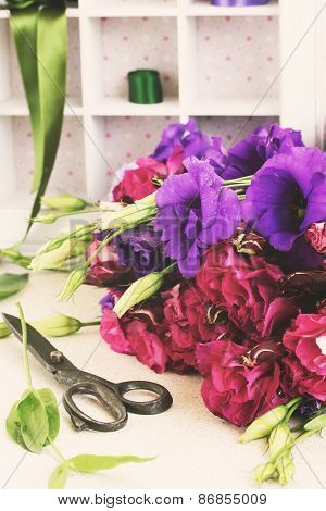 bunch of  violet and mauve  eustoma flowers