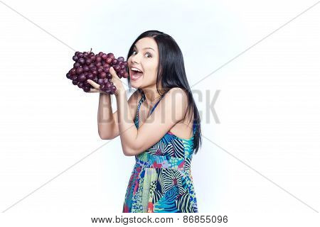 Girl with grape