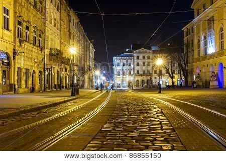 Tram In The Old Town In Lviv, Ukraine.