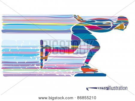 Artistic stylized skater in motion. Vector illustration