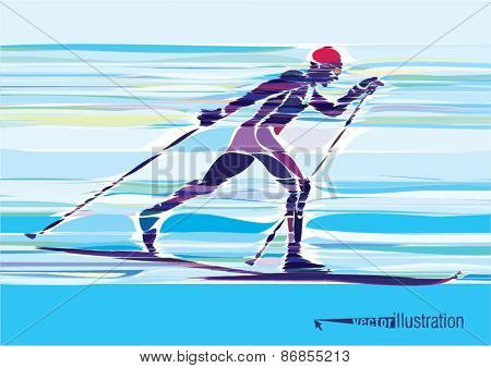 Artistic stylized skier in motion. Vector artwork.