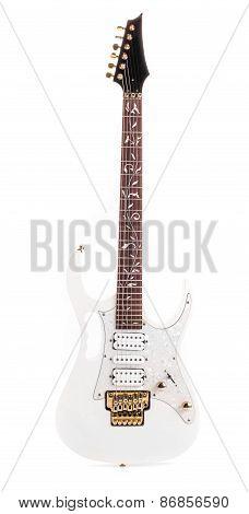 Beautiful white electric guitar.