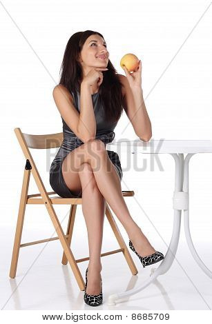 Girl With Apple Sitting