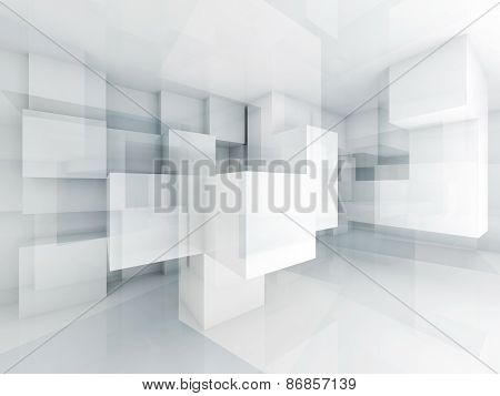 Abstract 3D Architecture Background With Chaotic Cubes