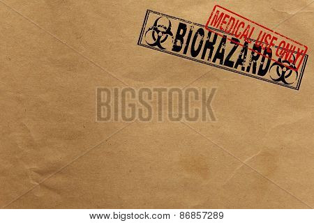 Paper texture with Bio Hazard and medical use only rubber stamps