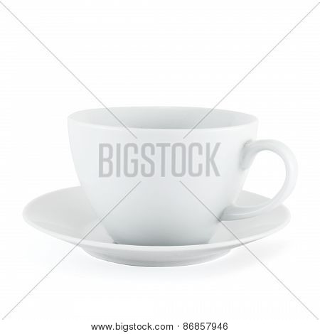 Empty ceramic tea cup over white plate