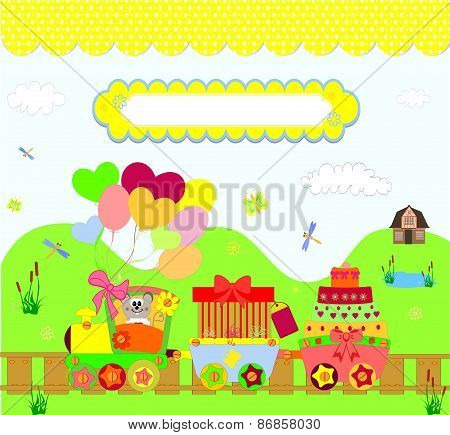 train party over dotted background vector illustration