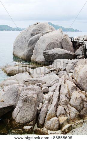 Huge Stones Boulders And Plank Bridge