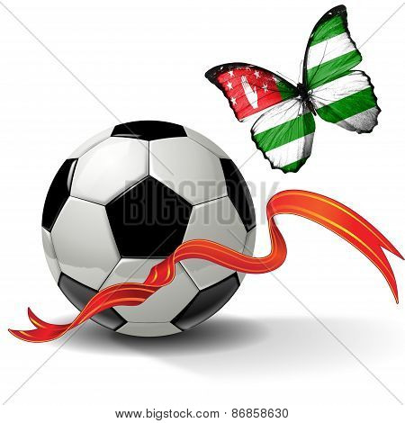 Soccer ball with ribbon and butterfly with the flag of Abkhazia