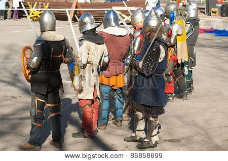 Medieval Knights In Row