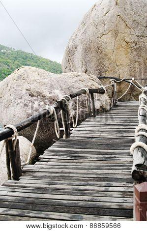 Plank Bridge  And Huge Stones Boulders, Koh Nanguan, Thailand