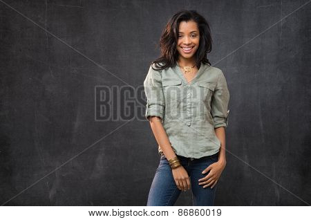 Portrait of smiling african woman looking at camera