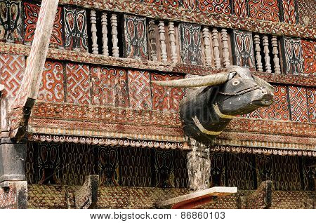 Decorated Facade Of The Traditional House Of People Living In The Region Tana Toraja On The Indonesi