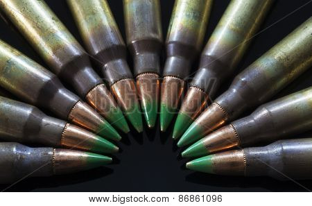 Rifle Cartridges With Green Tipped Bullets