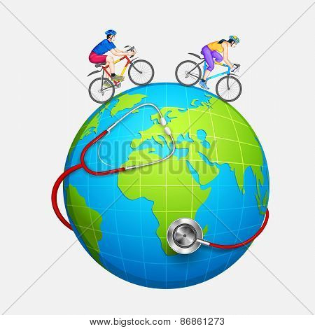Couple cycling for fitness