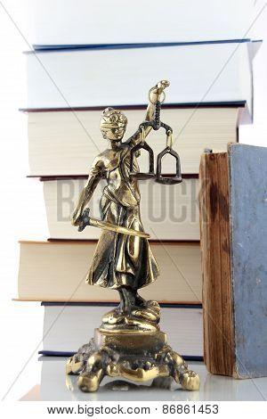 Justice Lady And Books. Lawyer Background