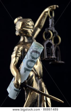 Justice Statue And Polish Banknote. Lawyer Background