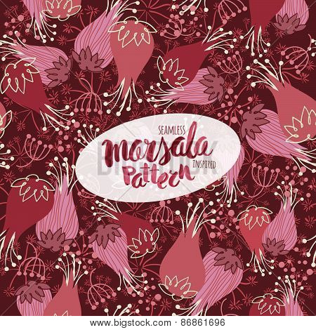 Marsala Inspired Seamless Trendy Pattern,fashionable Sophisticated Shade. Hand-drawn Removeable Lett