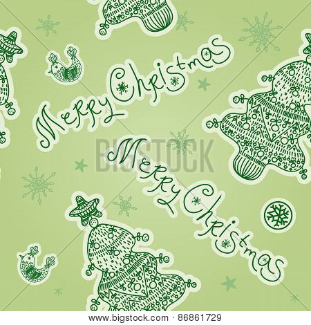 Christmas Seamless Pattern With Christmas Tree, Merry Christmas