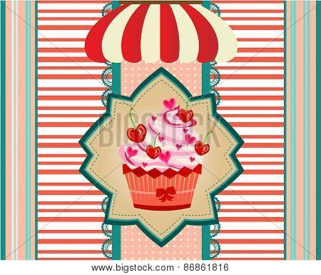 Vintage ard with cupcake with red cherries, pink hearts, bow, striped awning
