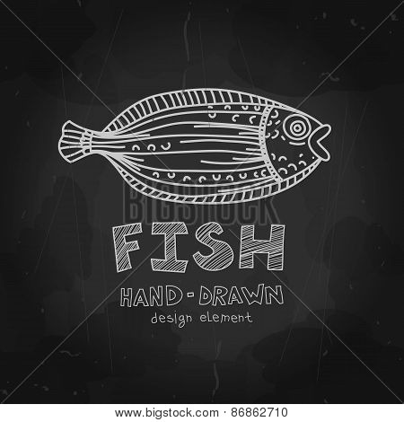 Hand-drawn flounder fish with Fish label on blackboard. Black an