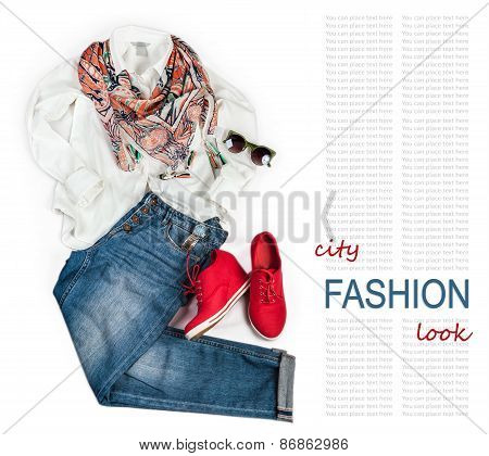 City Fashion Look Background With Denim And White Blouse
