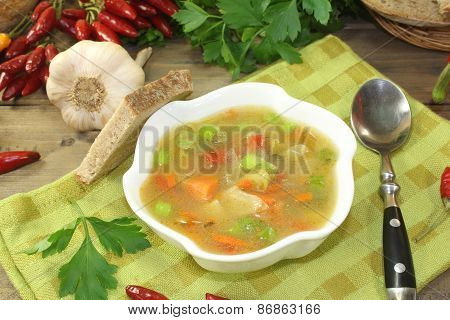 Chicken Consomme With Bread