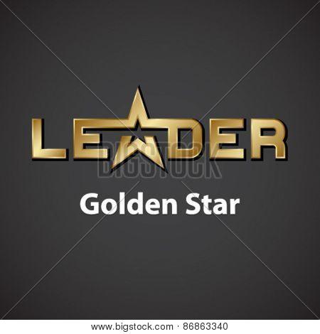 vector leader golden star inscription icon