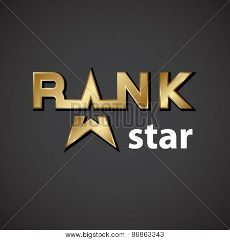 vector rank golden star inscription icon