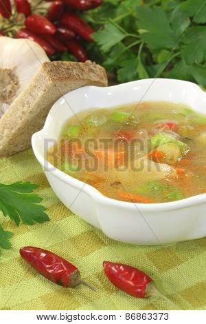 Poultry Consomme Soup With Green