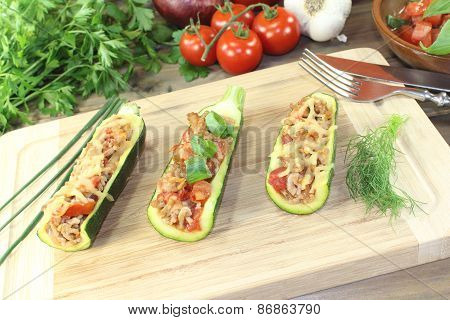 Stuffed Courgette With Ground Beef