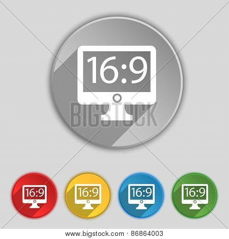 Aspect Ratio 16 9 Widescreen Tv Icon Sign. Symbol On Five Flat Buttons. Vector