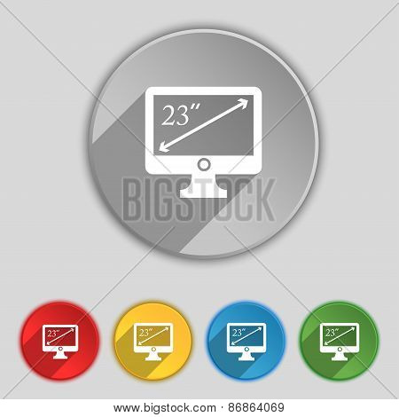 Diagonal Of The Monitor 23 Inches Icon Sign. Symbol On Five Flat Buttons. Vector