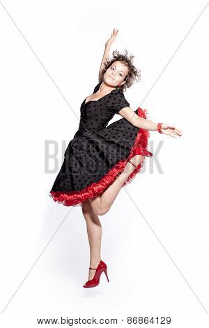 Dancing girl on the white background