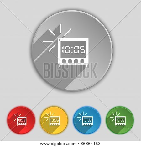 Digital Alarm Clock Icon Sign. Symbol On Five Flat Buttons. Vector