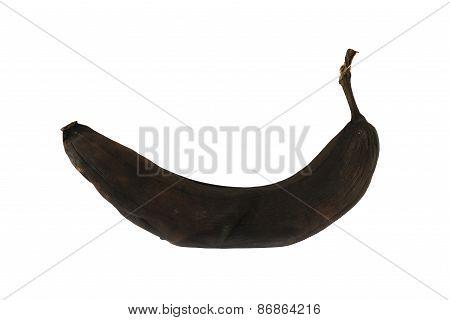 Black rotten banana isolated