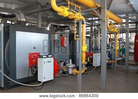 Modern gas boiler-house