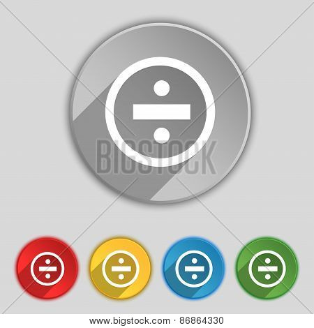 Dividing Icon Sign. Symbol On Five Flat Buttons. Vector