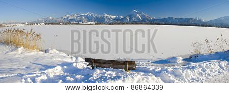panorama landscape in Bavaria at winter