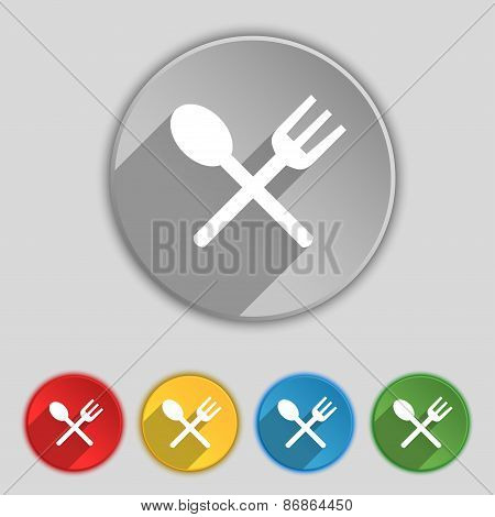 Fork And Spoon Crosswise, Cutlery, Eat Icon Sign. Symbol On Five Flat Buttons. Vector