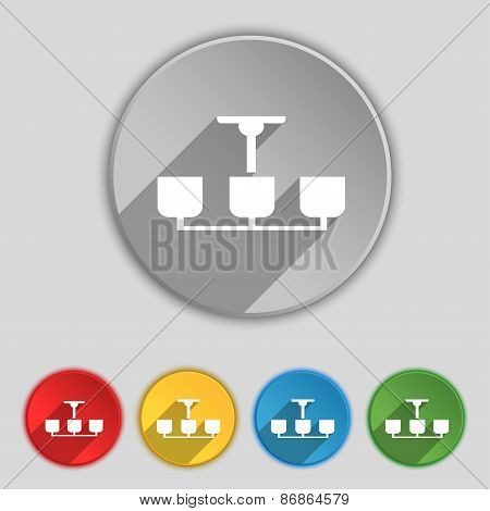 Chandelier Light Lamp Icon Sign. Symbol On Five Flat Buttons. Vector
