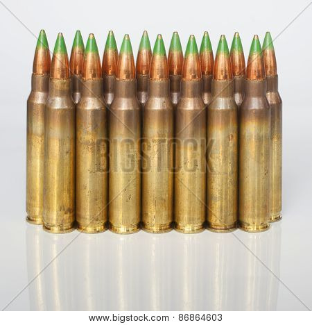 Rifle Cartridges On A White Background