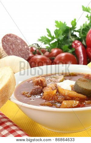 Soljanka In A Soup Bowl With Salami