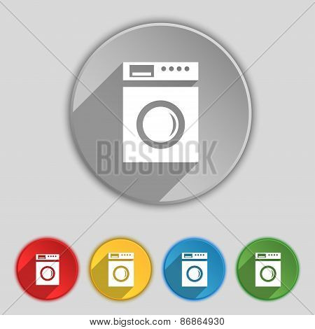 Washing Machine Icon Sign. Symbol On Five Flat Buttons. Vector