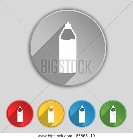 Plastic Bottle With Drink Icon Sign. Symbol On Five Flat Buttons. Vector