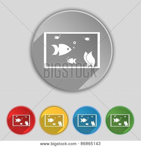 Aquarium, Fish In Water Icon Sign. Symbol On Five Flat Buttons. Vector