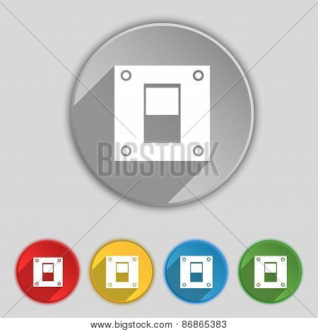 Power Switch Icon Sign. Symbol On Five Flat Buttons. Vector