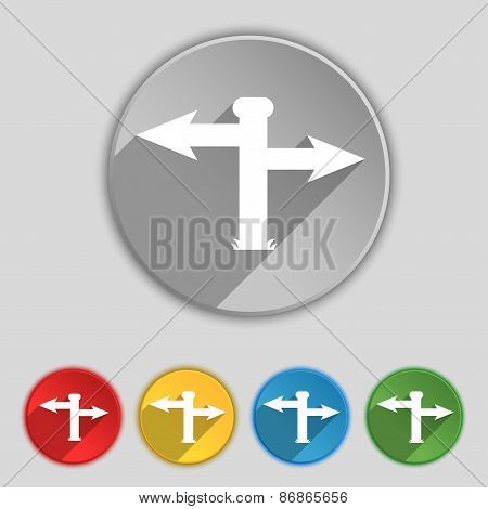 Blank Road Sign  Icon Sign. Symbol On Five Flat Buttons. Vector