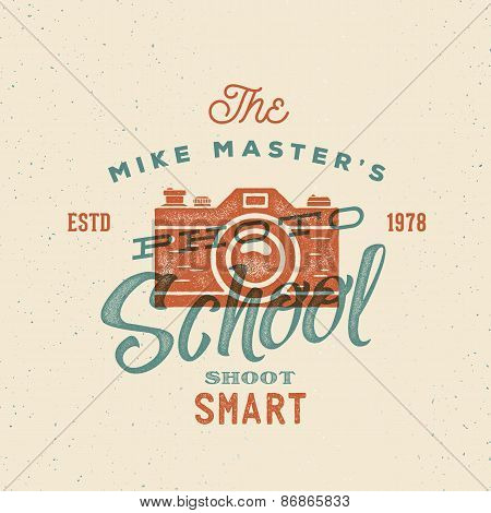 Photography School Retro Vector Label or Logo Template