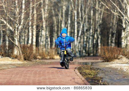 little boy enjoying bike ride in spring